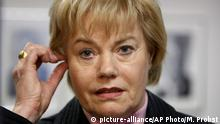 FILE - This Jan. 5, 2010 file picture shows German politician Erika Steinbach in Frankfurt, Germany. The lawmaker who has long been critical of Chancellor Angela Merkel's policies says Saturday Jan. 14, 2017 she is leaving the German leader's conservative party, citing discontent over Merkel's approach to migrants. (AP Photo/Michael Probst,file) |