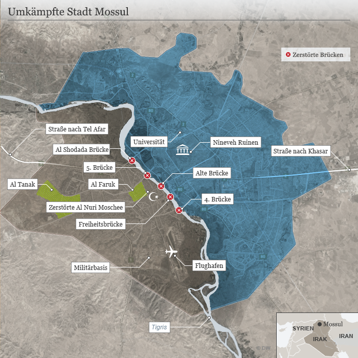 Infografik Karte Umkämpfte Stadt Mossul DEU