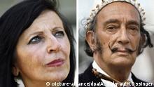 Die Kombo zeigt Pilar Abel und Salvador Dali (Bilder vom 10.08.2008 und September 1968). Die 52-jährige Spanierin will feststellen lassen, ob sie eine Tochter des Malers Salvador Dali ist. Sie werde vor Gericht den Antrag stellen, dass ein genetischer Abgleich vorgenommen werde, kündigte die aus der Gegend von Gerona im Nordosten Spaniens stammende Pilar A. an. Ihre Anwältin ergänzte nach Presseberichten vom Montag (11.08.2008): «Notfalls müssen für einen solchen Test die sterblichen Überreste Dalís exhumiert werden. Fotos: Andreu Dalmau (l) und Horst Ossinger (r). +++(c) dpa - Bildfunk+++ |