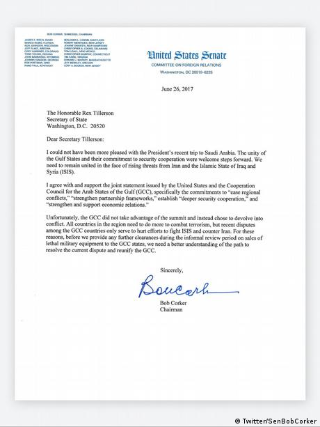 Letter from Republican US Senator Bob Corker to Secretary of State Rex Tillerson.