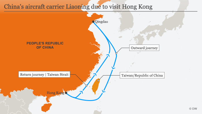 Liaoning carrier demonstrates China's power off Taiwan coast