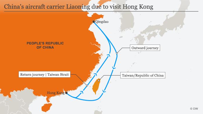 Infografik Karte Chinas Flugzeugträger Lianoning fährt nach Hongkong ENG