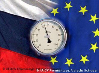 Flaggen Russlands und der EU mit Gasuhr (Fotomontage: DW)