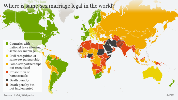 Map of the world and which countries allow same-sex marriage