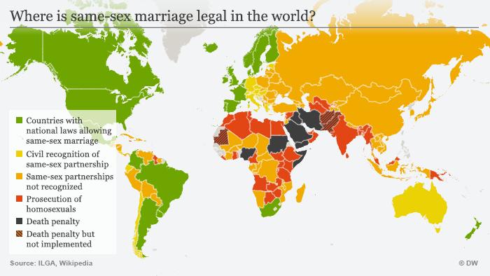 Infografik In welchen Ländern ist die Homo-Ehe erlaubt? ENG