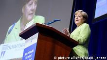 German Chancellor Angela Merkel speaking at the German business forum in Berlin
