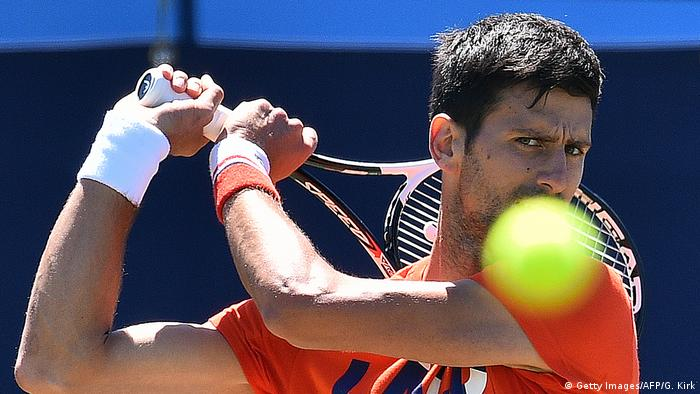 Sportfoto des Monats Juni Novak Djokovic ATP Aegon International tennis tournament in Eastbourne (Getty Images/AFP/G. Kirk)