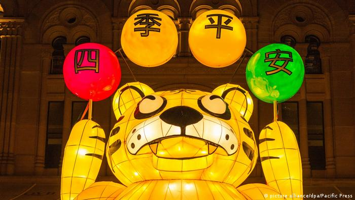Australien Sydney leuchtet für das chinesische Neujahr (picture alliance/dpa/Pacific Press)