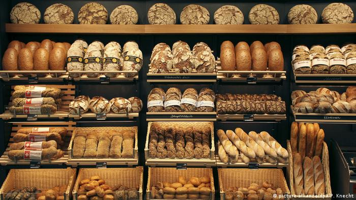 Different types of bread in a bakery