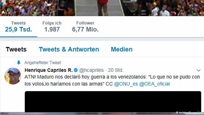 Screenshot Twitter hcapriles zu Ausschreitungen in Venezuela (twitter/hcapriles)