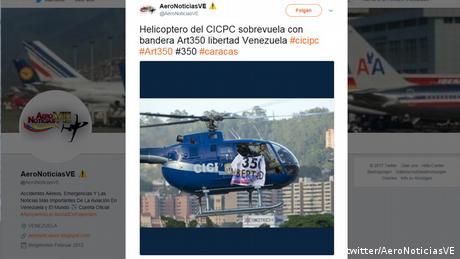 Screenshot Twitter Helikopter in Venezuela (twitter/AeroNoticiasVE)
