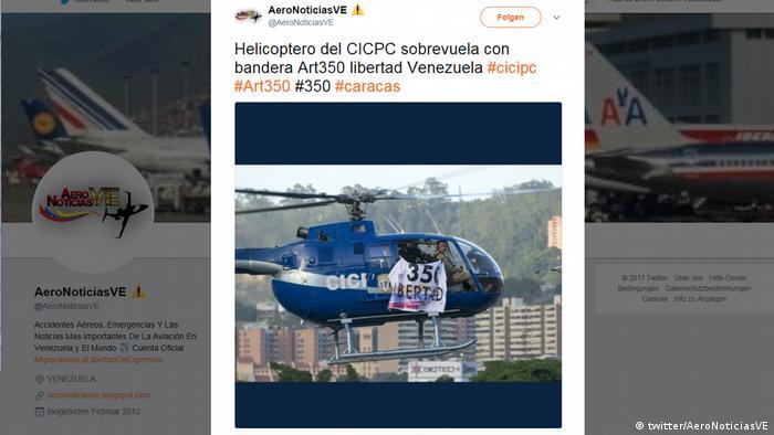 Screenshot Twitter Helikopter in Venezuela