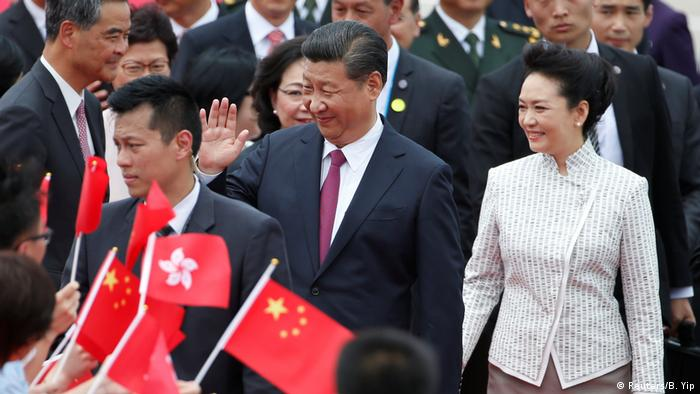 Chinese president Xi Jinping arriving in Hong Kong