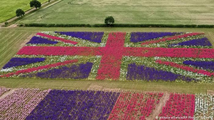 Großbritannien Beet mit Blumen als Union Jack