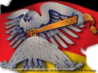 German eagle symbol tightening its own belt