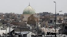 Irak die zerstörte Al-Nuri Mosche in Mossul