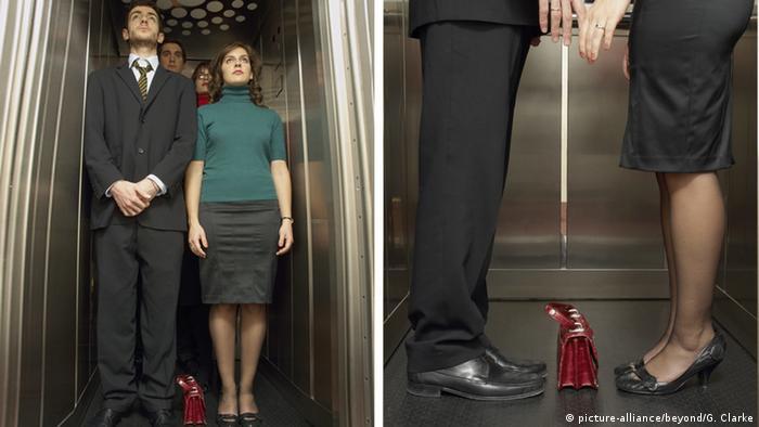 Женщина и мужчина в лифте