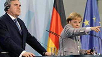 Gordon Brown with Angela Merkel