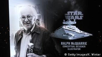 Black and white photo showing Ralph McQuarrie (Getty Images/K. Winter)