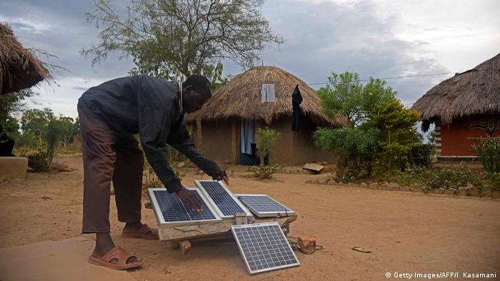 Solar panels in a Ugandan village