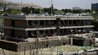 The bombed German Embassy in Kabul stands in ruins