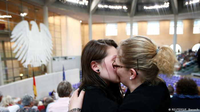 Two women kissing at the Bundestag (REUTERS/F. Bensch)