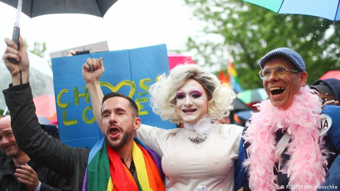 People celebrating the same-sex marriage vote in Germany