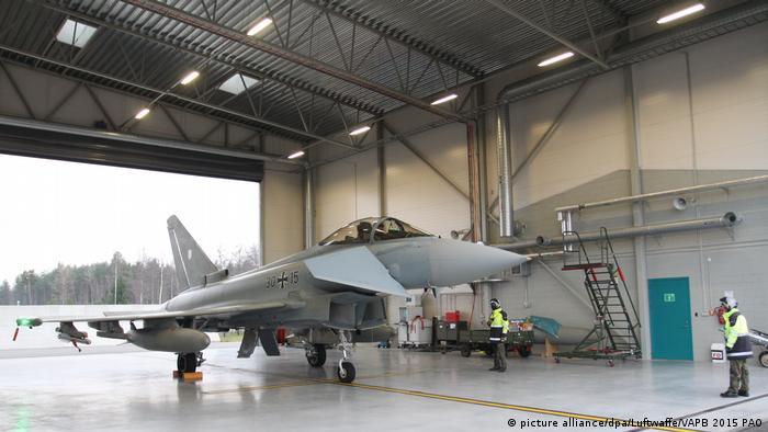 A Eurofighter in a hanger in Estonia