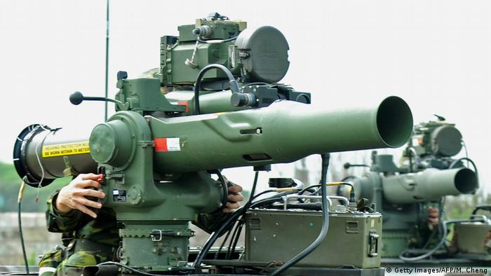 Taiwanese soldiers with mobile US-made TOW anti-tank missile launchers