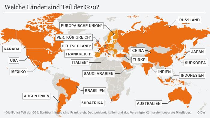 Infografik Karte G20 Staaten