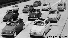 1st July 1957: Ten Fiat 500's at Brand's Hatch racetrack. (Photo by Keystone/Getty Images)