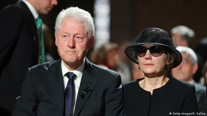 Former U.S. President Bill Clinton and Maike Kohl-Richter, the widow of Helmut Kohl, attend a requiem for Kohl at the Speyer cathedral