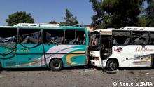 02.07.2017 +++ Damaged buses are pictured at one of the blast sites in Damascus in this handout picture posted on SANA on July 2, 2017, Syria. SANA/Handout via REUTERS ATTENTION EDITORS - THIS PICTURE WAS PROVIDED BY A THIRD PARTY. REUTERS IS UNABLE TO INDEPENDENTLY VERIFY THE AUTHENTICITY, CONTENT, LOCATION OR DATE OF THIS IMAGE