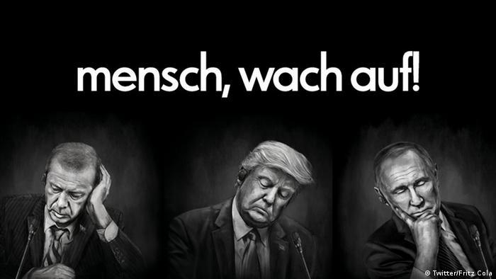 Still aus Fritz Cola Werbung Wach auf mit Donald Trump/Erdogan/Putin
