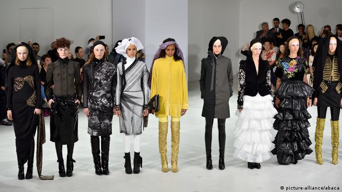 Models display creations designed by A.F. Vandevorst during the 2017/18 Fall Winter Haute Couture collection