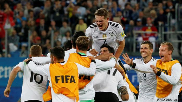 Germany's Matthias Ginter and team mates celebrate winning the FIFA Confederations Cup (Reuters/G. Dukor)