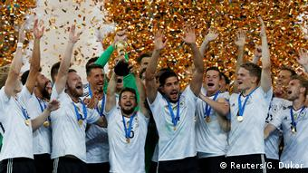Germany celebrating their Confederations Cup victory