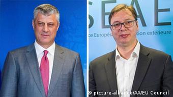 Kombo-Bild Kosovo Hashim Thaci und Serbien Aleksandar Vucic (picture-alliance/AA/EU Council )
