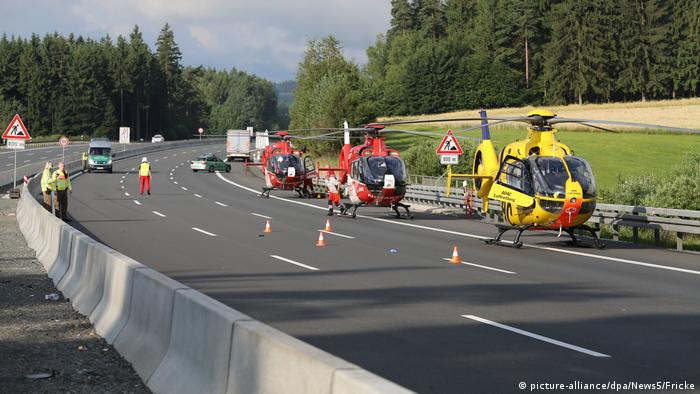 Helicopters on the A9 highway in Münchberg, Bavaria