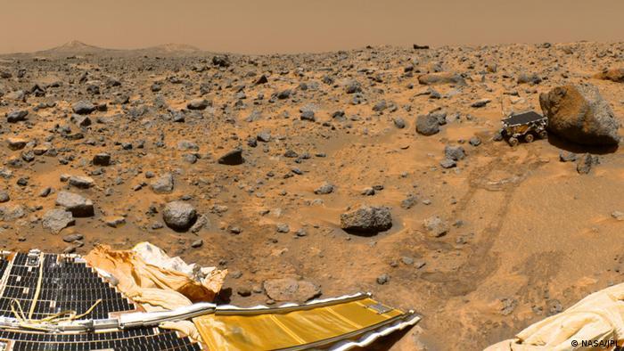 Landung Marssonde Pathfinder mit dem Rover Sojourner