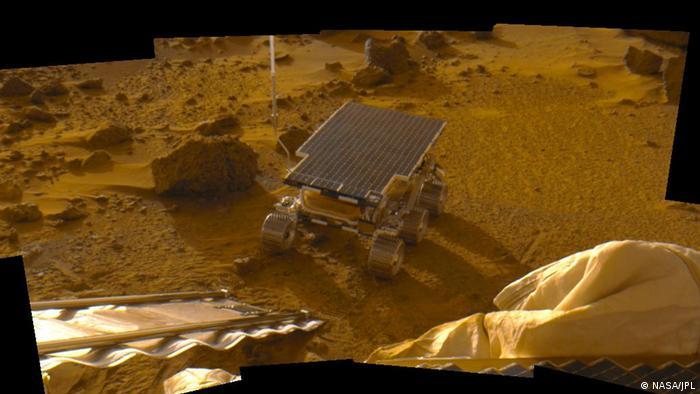 Landung Marssonde Pathfinder mit dem Rover Sojourner (NASA/JPL)