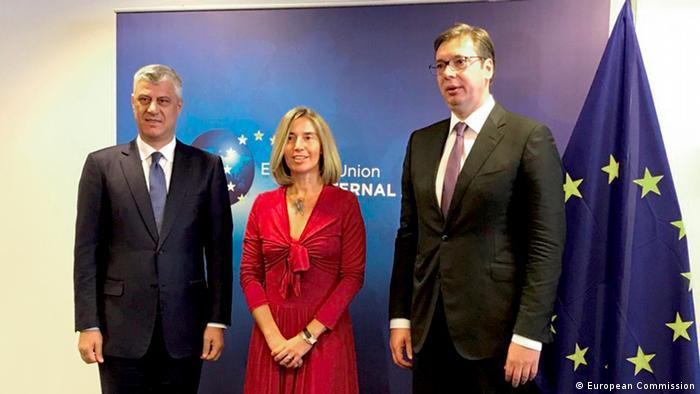 Treffen von Präsident Hashim Thaci Kosovo und Präsident Aleksandar Vučić Serbien in Brüssel