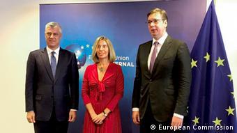 Treffen von Präsident Hashim Thaci Kosovo und Präsident Aleksandar Vučić Serbien in Brüssel (European Commission)