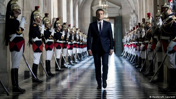 Emmanuel Macron, ahead of a speech in Versailles (Reuters/E. Laurent)