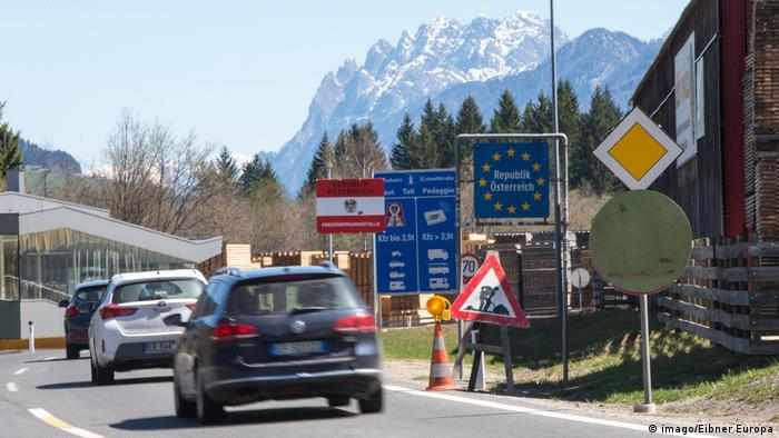The Brenner Pass border between Austria and Italy