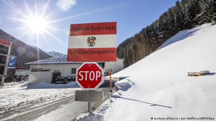 A stop sign at the Austrian-Italian border