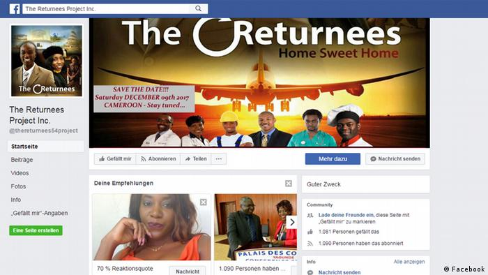Screenshot The Returnees Projekt Facebook (Facebook)