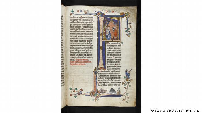 Страница Библии 1312 года, пергамент, из фондов Берлинской государственной библиотеки.