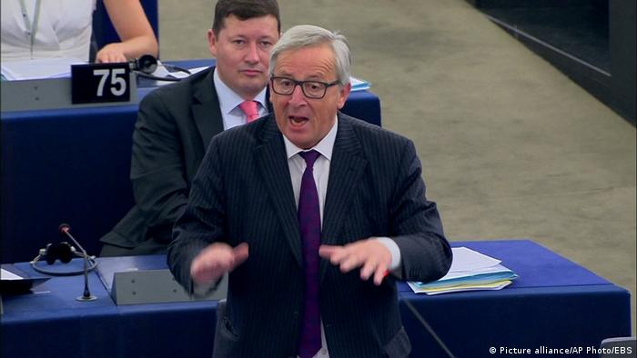 Frankreich EU Parlament Jean-Claude Juncker (Picture alliance/AP Photo/EBS)