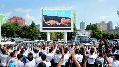 North Korean public viewing of a Hwasong-14 test (Reuters/KCNA)